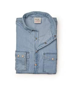 Nauwsluitend light wash denim overhemd