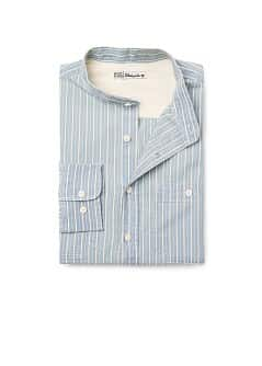 Mao collar slim-fit striped shirt