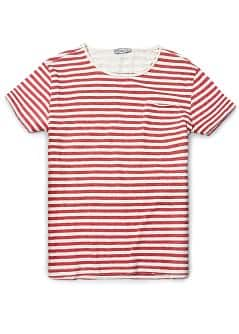 Frayed edges striped t-shirt