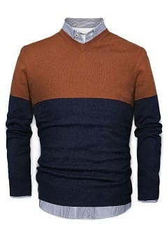 PULLOVER BICOLORE COTONE E CASHMERE