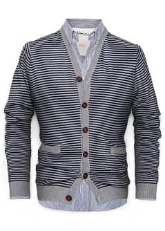 STRIPED COTTON CRDIGAN