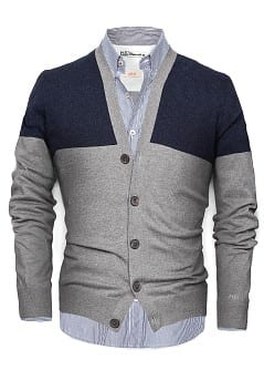 CARDIGAN BICOLORE COTONE E CASHMERE