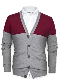 TWO-TONE CASHMERE COTTON-BLEND CARDIGAN