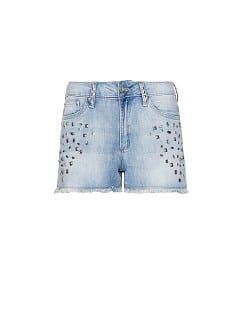 Embellished denim shorts