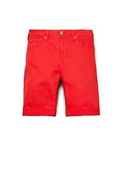 RED DENIM BERMUDA SHORTS