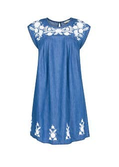 Vestido denim bordado flores