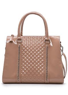 Patent chain tote bag