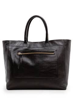 Pocket leather tote bag