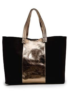 Leather tote with metallic panel