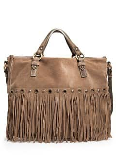 Suede fringe shopper bag