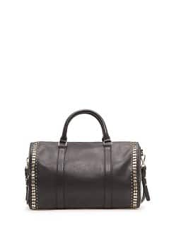 Metallic embellishment leather bag