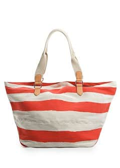 Canvas striped maxi bag