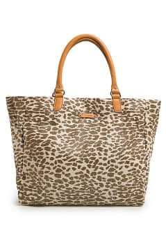 Metallic canvas shopper met luipaardprint