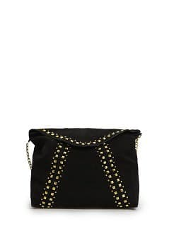 Studded suede messenger bag