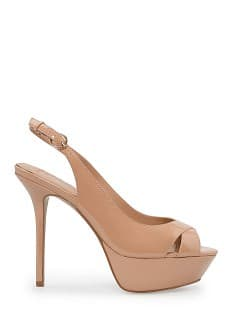 Lakleren pumps met open hiel
