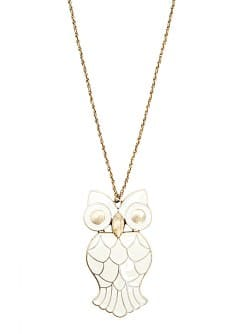 Enamelled owl necklace