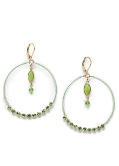 Crystal embellished hoop-earrings