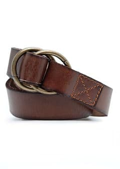 CEINTURE CUIR DOUBLE ANNEAU