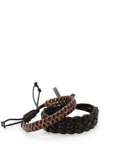 SET VAN TWEE LEREN ARMBANDEN