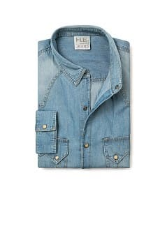 Slim-fit light wash denim shirt