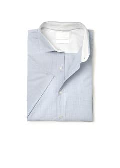 Slim-fit short sleeved cotton shirt