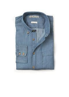 Slim-fit blue denim shirt