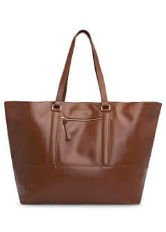 TOUCH - Zip leather shopper bag