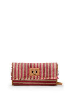 TOUCH - Striped woven clutch