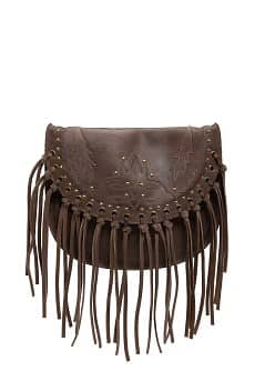 TOUCH - Leather fringed bag with studs