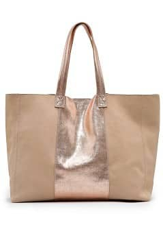 TOUCH - Leather shopper with metallic panel