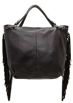 TOUCH - Fringed leather tote bag