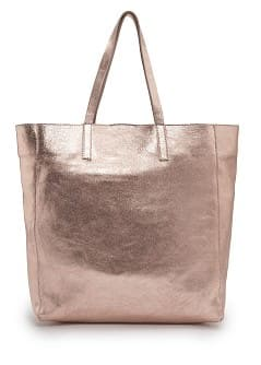 TOUCH - Metallic leather tote bag