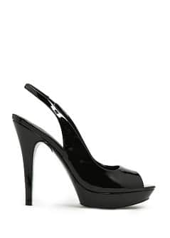 TOUCH - Patent sling back peep-toe shoes