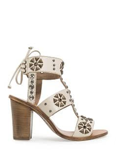 TOUCH - Crystals and studs leather sandals