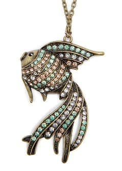 TOUCH - Crystal embellished fish pendant