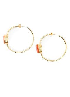 TOUCH - Stone hoop earrings