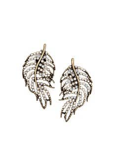 TOUCH - Crystals leaf earrings