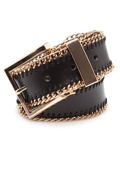 TOUCH - Chain trimmed leather belt