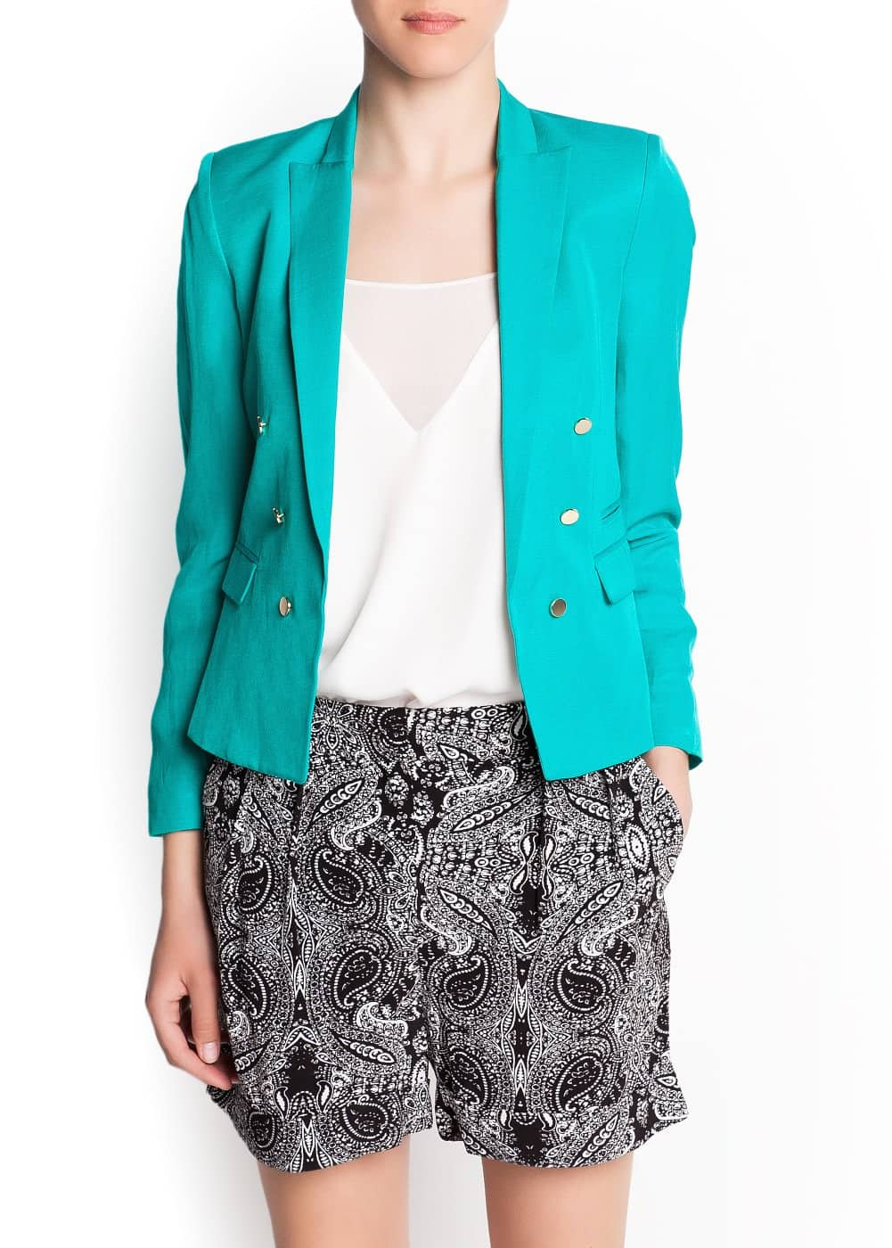Satin lapels double-breasted blazer