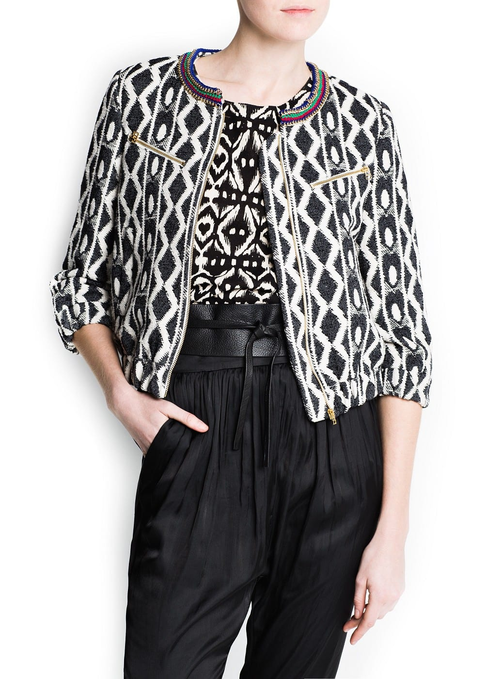 Ethnic fabric chains jacket