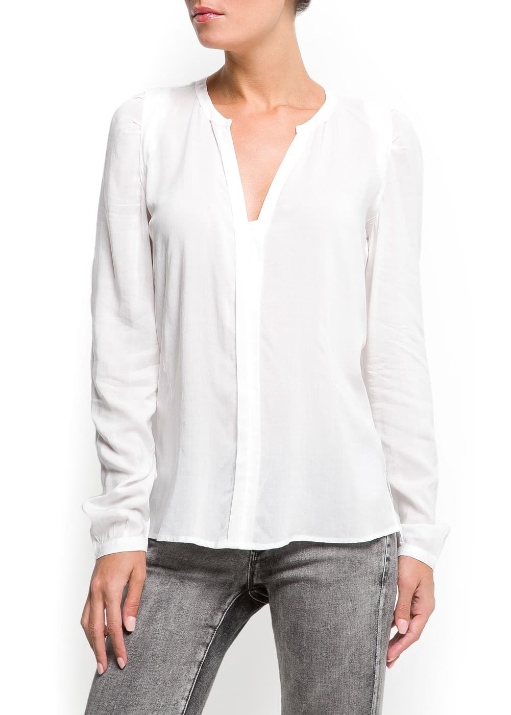 V-neck light shirt