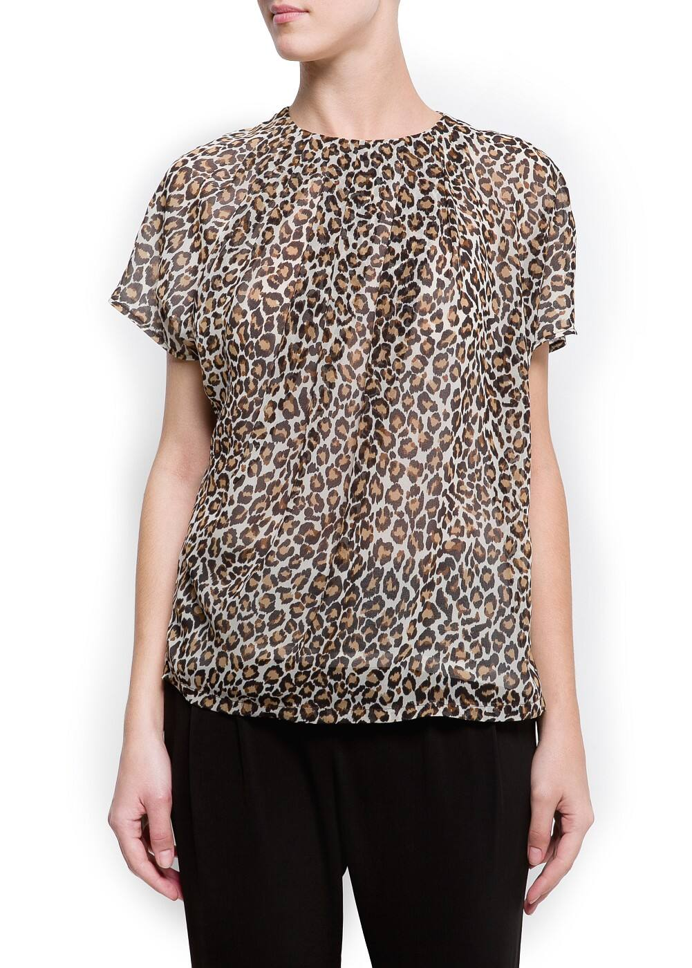 Animal print pleated t-shirt