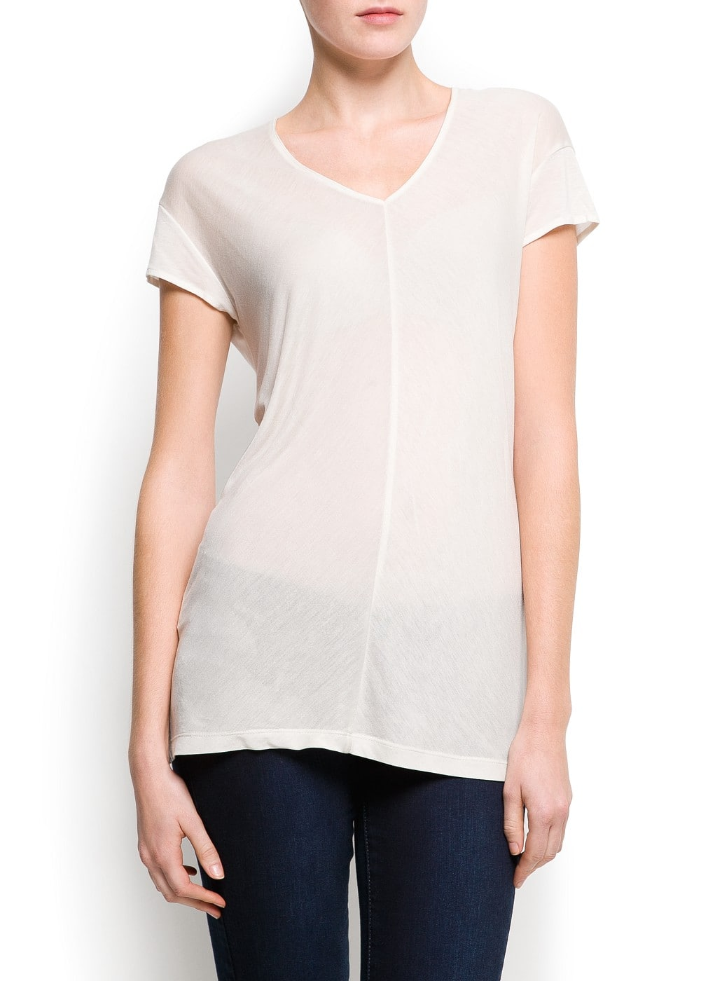 Vertical stitching t-shirt | MANGO