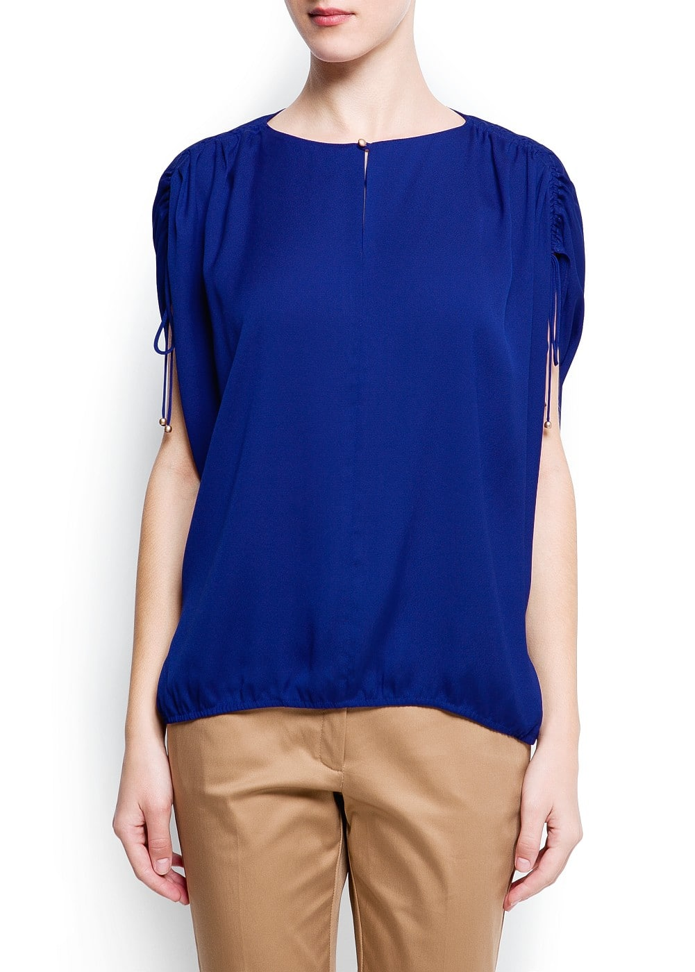 Gathered shoulders blouse