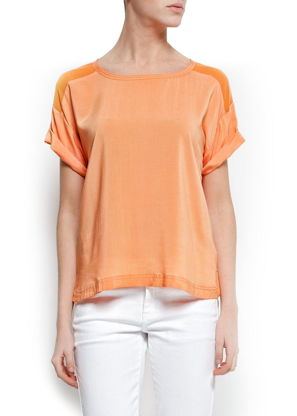 Sheer panels blouse | MANGO