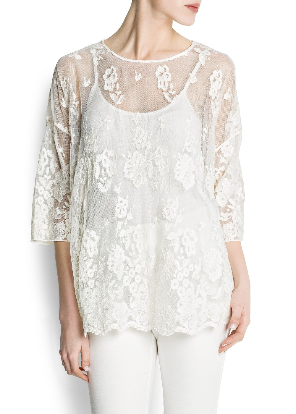 Cotton embroidery tulle blouse | MANGO