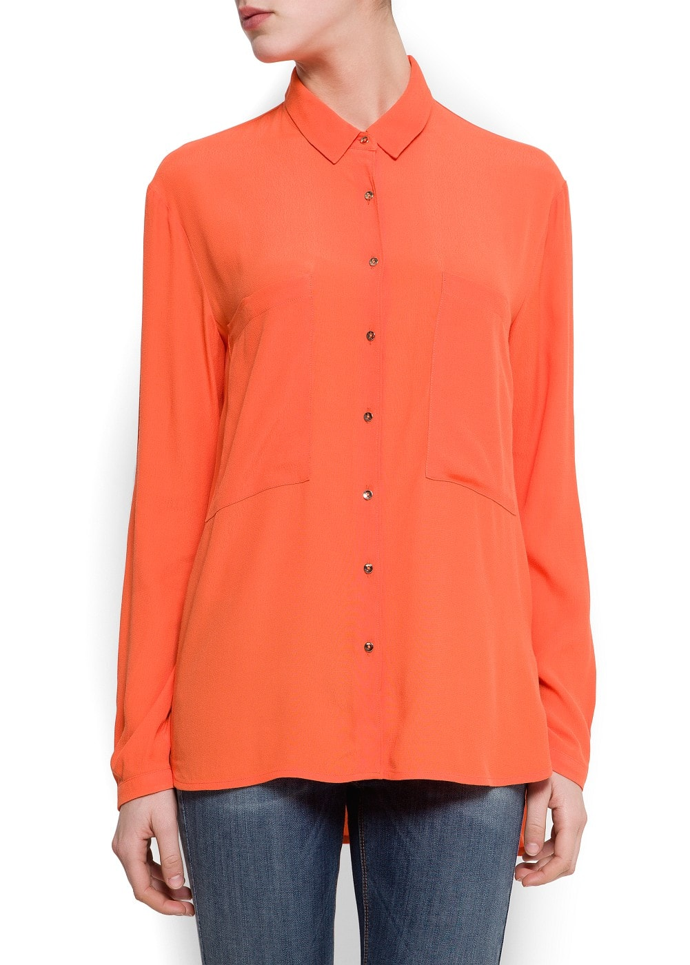 Crepe blouse with pockets