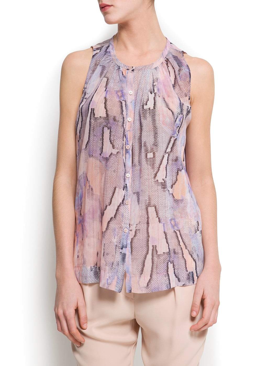 Pleated printed blouse | MANGO