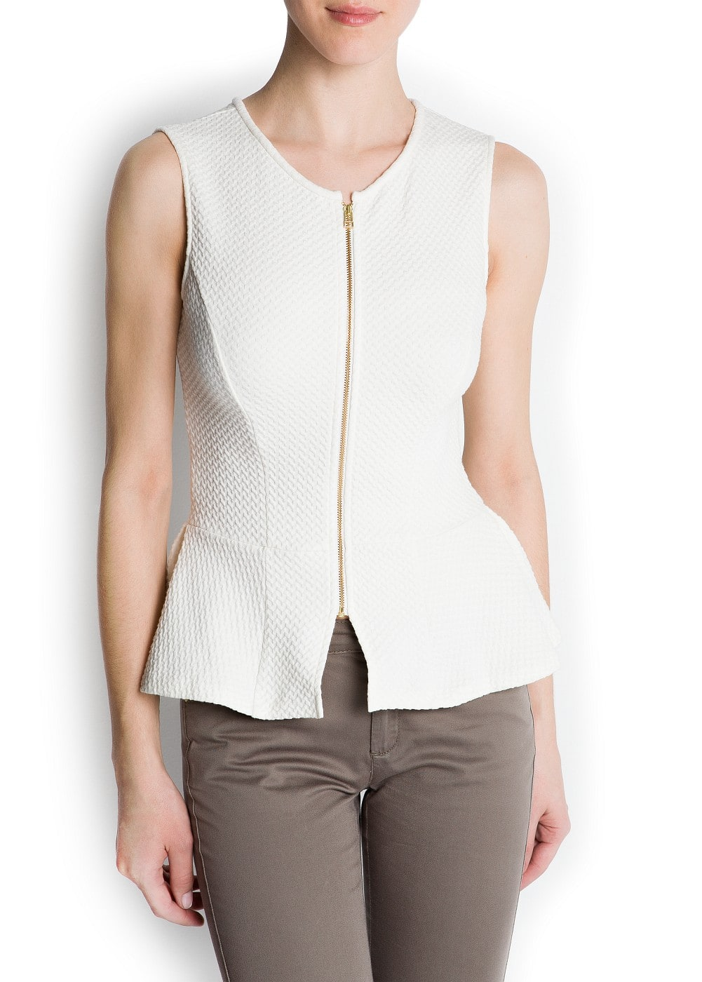 Textured peplum blouse