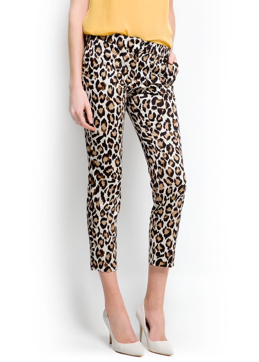 Animal print cropped trousers